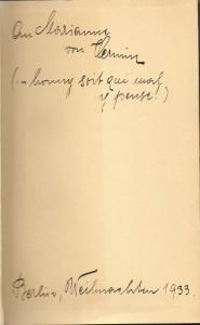 Widmung in Gudrun Hauers Ausgabe von »Radclyffe Hall: Quell der Einsamkeit«