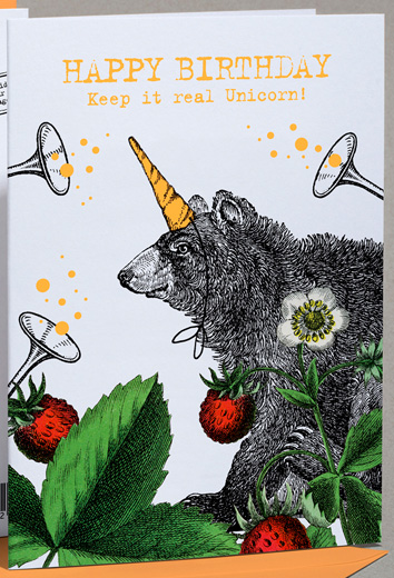 Klappkarte: HAPPY BIRTHDAY: Keep It Real Unicorn! (Bear/Bär)